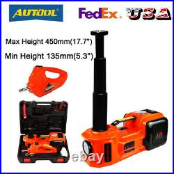 5 Ton Electric Hydraulic Floor Jack Lift Electric Impact Wrench Repair Tool 45cm