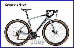 Carbon Fibre Gravel Bike Hydraulic Disc Brake 2x12 speed groupset Concrete grey