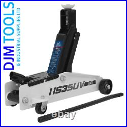Sealey 1153SUV Long Chassis High Lift SUV Trolley Jack 3 Tonne Cars Vans Garage