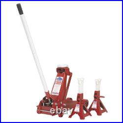 Sealey 3010cx Trolley Jack 3tonne Standard Chassis with Axle Stands (Pair) 3tonn