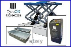 TSC3500X2iL In floor scissor lift flush floor double extensions 166-206 cm